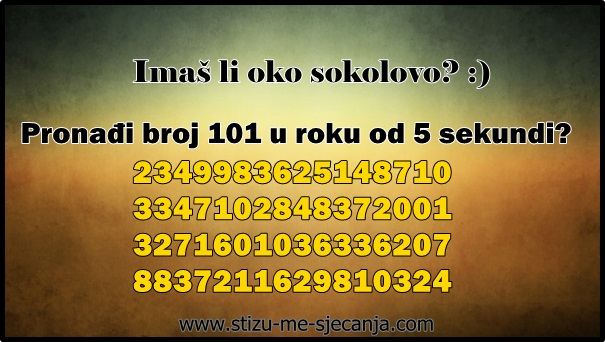 Ako pronađete broj 101 u roku od 5 sekundi spadate u 5% ljudi sa SAVRŠENIM SPOSOBNOSTIMA OPAŽANJA
