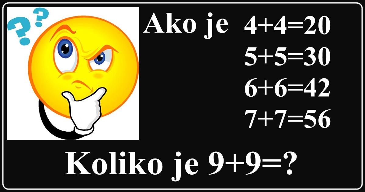 Još jedna matematička MOZGALICA! Možete li vi pronaći TAČNO REŠENJE?